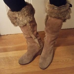 Shoes - Suede fur trimmed wedge boots
